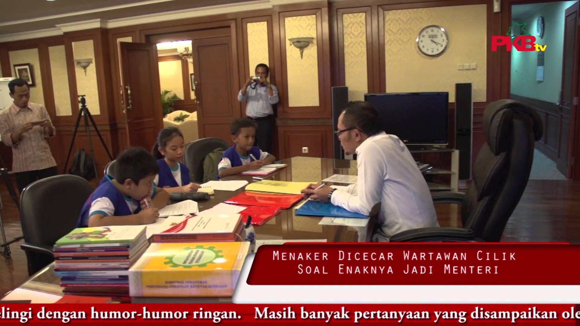 Menaker Dicecar Wartawan Cilik Soal Enaknya Jadi Menteri